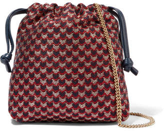 Clare Vivier Maison Leather-trimmed Metallic Jacquard Pouch - Red
