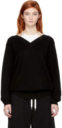 Alexander Wang Black and Off-White Bi-Layer Off-the-Shoulder Pullover