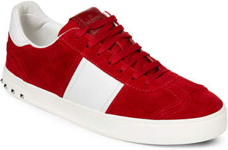 Valentino Red & White Suede & Leather Low-Top Sneakers