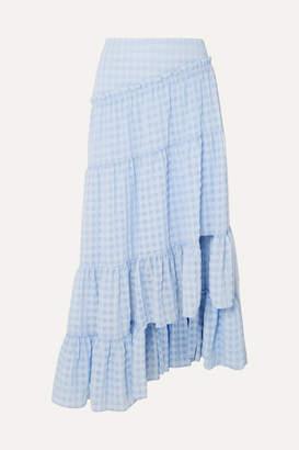 3.1 Phillip Lim Asymmetric Tiered Seersucker Skirt - Light blue