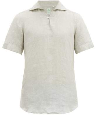 Finamore 1925 - Palma Notch Neck Slubbed Linen Poplin Shirt - Mens - Grey
