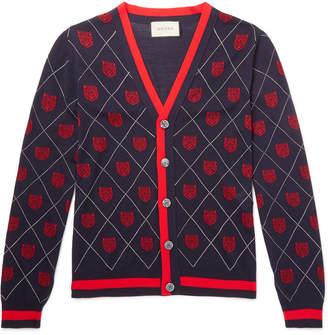 Gucci Slim-Fit Webbing-Trimmed Wool-Jacquard Cardigan