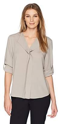 Lark & Ro Women's Wing Collar Long Sleeve Top