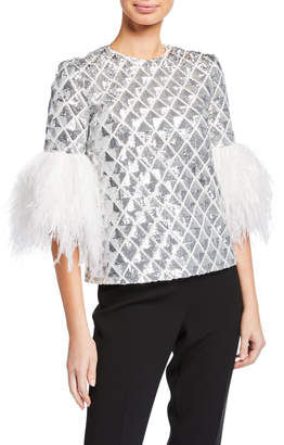 Huishan Zhang 3/4-Sleeve Sequin Quilted Blouse w/ Feather Cuffs