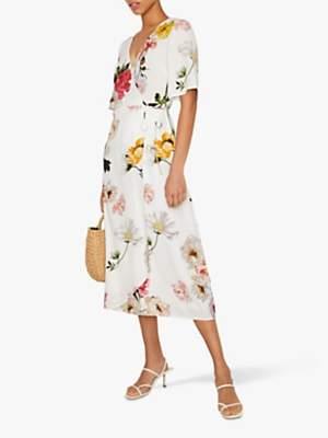 Warehouse Flora Floral Wrap Dress, Neutral Print