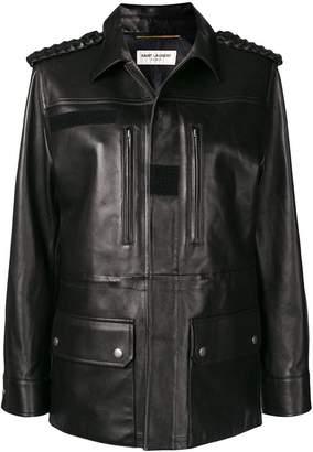 Saint Laurent long leather jacket