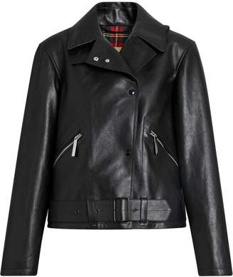 Burberry Tartan-lined Leather Biker Jacket