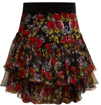 Dolce & Gabbana Floral Print Tiered Silk Blend Skirt - Womens - Black Multi