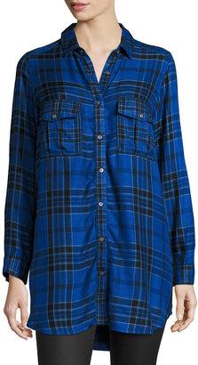 Raison D'etre Long Plaid Blouse, Blue/Black $99 thestylecure.com