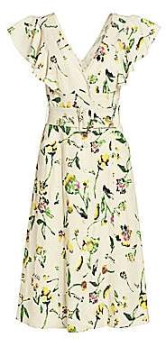 Tanya Taylor Women's Inez Floral Belted Midi Dress - Size 0