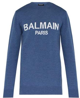 Balmain Logo Intarsia Wool Sweater - Mens - Blue