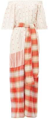 Ace&Jig Casa Tulip Jacquard Check Cotton Maxi Dress - Womens - Red