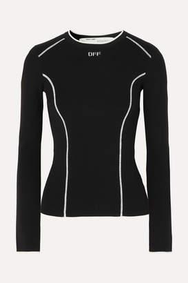 Off-White Jacquard-knit Top - Black