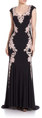 Betsy & Adam Floral Lace-Trimmed Gown $309 thestylecure.com