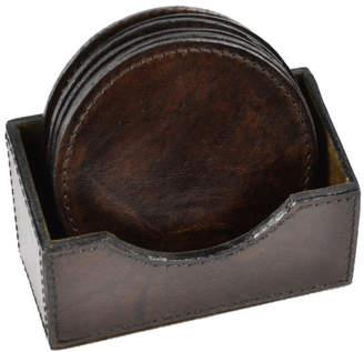 Dark Leather Round Coasters