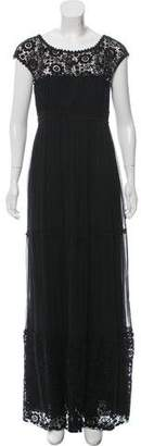 Philosophy di Alberta Ferretti Lace-Accented Maxi Dress