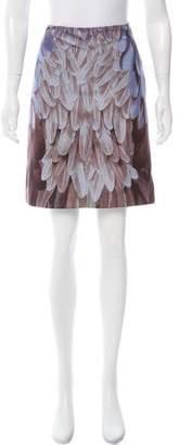 Prada Silk Feather Print Skirt