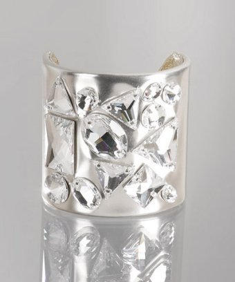 Ted Rossi silver mirror lambskin crystal studded large cuff