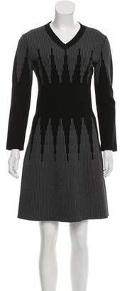 Alaia Wool Striped Print Dress