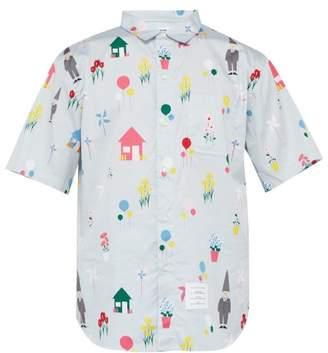 Thom Browne Gnome Print Short Sleeved Cotton Poplin Shirt - Mens - Light Blue