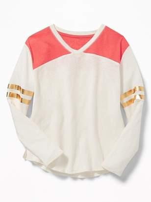 Old Navy Linen-Blend Football-Style Tee for Girls