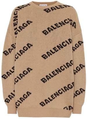 Balenciaga Allover Logo wool-blend sweater