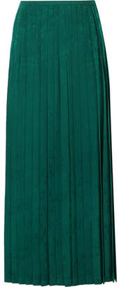 Vilshenko Beatrix Pleated Crepe-jacquard Midi Skirt - Green