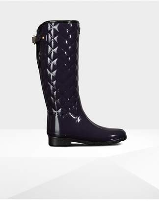 Hunter Womens Refined Adjustable Quilted Gloss Rain Boots