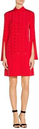 St. John Sequin Stretch Silk CDC Mock Neck Dress