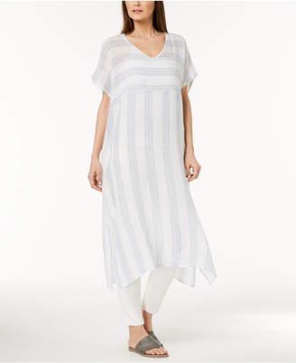 Eileen Fisher Organic Linen Striped Caftan, Regular & Petite