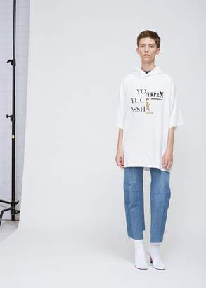 Vetements Cut Up Short Sleeve Tee With Hood