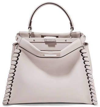 Fendi - Peekaboo Medium Whipstitched Leather Tote - Stone $4,500 thestylecure.com