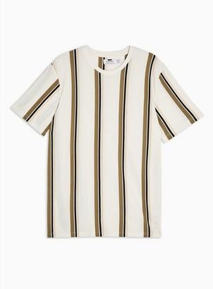 Topman Mens White And Tan Stripe T-Shirt