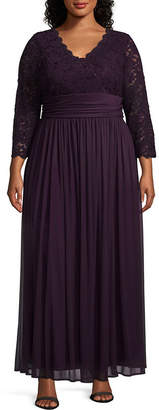 Onyx Nites Long Sleeve Evening Gown - Plus