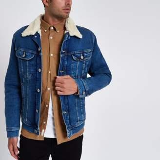 River Island Mens Blue Lee faux shearling denim trucker jacket