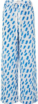 Marni Printed Silk-georgette Wide-leg Pants - Blue
