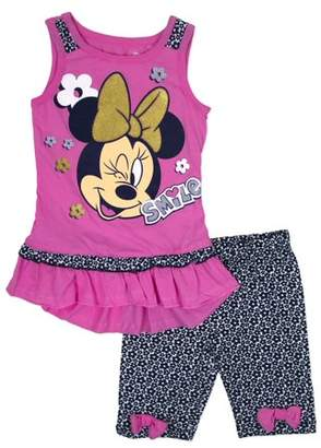 """Minnie Mouse Little Girls' 4-6X """"Smile"""" Tank Top and Bike Short 2-Piece Outfit Set"""