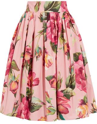 Dolce & Gabbana - Printed Cotton-poplin Skirt - Blush
