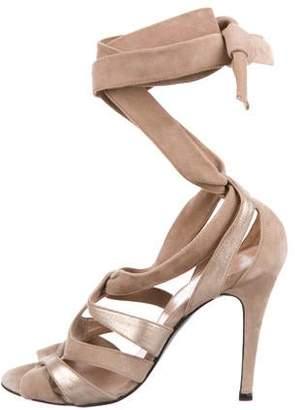 Pierre Hardy Suede Peep-Toe Sandals