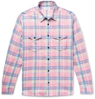 Saint Laurent Checked Slub Cotton, Linen And Ramie-Blend Shirt