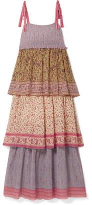 Zimmermann Juniper Tiered Printed Plissé-cotton And Silk-blend Maxi Dress