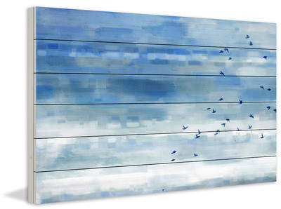 Wayfair 'Blue Sky Birds' by Parvez Taj Painting Print on White Wood