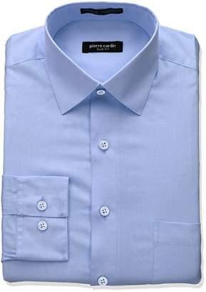 Pierre Cardin Men's Slim Fit Solid Broadcloth Semi Spread Collar Shirt