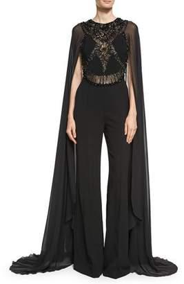 Elie Saab Beaded Cape-Sleeve Jumpsuit, Black $5,950 thestylecure.com