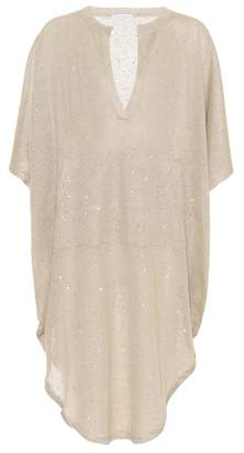Brunello Cucinelli Sequinned linen and silk dress