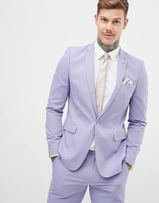 Asos DESIGN skinny suit jacket in lilac