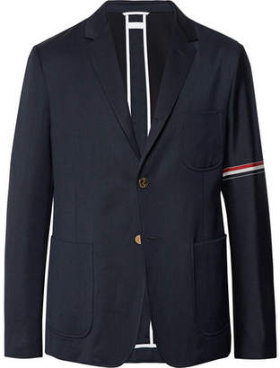 Thom Browne Midnight-Blue Slim-Fit Unstructured Wool And Cotton-Blend Blazer