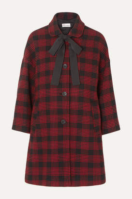 RED Valentino Bow-detailed Checked Tweed Coat