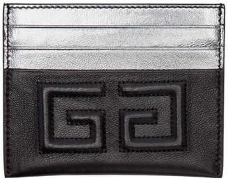 Givenchy Black and Silver Emblem 4G Card Holder
