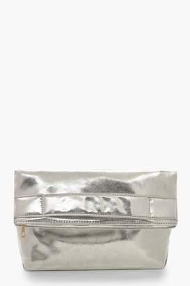 boohoo Metallic Oversized Fold Over Clutch Bag
